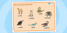 Desert Animals Word Mat