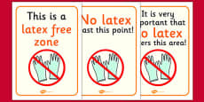 Latex Free Zone Sign Display SIgn