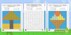 * NEW * KS1 Summer Multiplication Mosaics Differentiated Activity Sheets