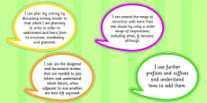 2014 Curriculum LKS2 Years 3 and 4 Writing Assessment I Can Speech Bubbles