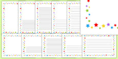 Multicoloured Stars Page Borders