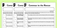 Commas to the Rescue Differentiated Activity Sheet Pack