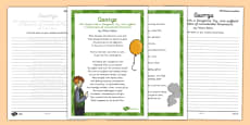 George Cautionary Tale Handwriting Poem Pack