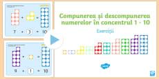 Compunerea și descompunerea numerelor în concentrul 1-10 - Prezentare PowerPoint cu exerciții