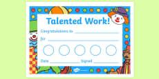 Circus Themed Sticker Reward Certificates