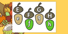 Autumn Acorn Uppercase and Lowercase Letter Bonds