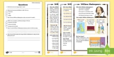 * NEW * KS1 William Shakespeare Differentiated Reading Comprehension Activity
