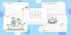 Pirate Themed Pencil Control Activity Sheets Arabic Translation