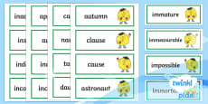 PlanIt English Additional Resources Year 4 Term 1A Word Cards