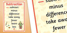 Autumn Themed Subtraction Vocabulary Display Poster