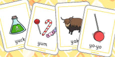 Initial y Sound Playing Cards