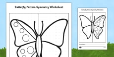 Butterfly Pattern Symmetry Activity Sheet (Minibeasts)