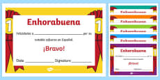 Spanish End of Year Effort Award Certificate Spanish / Español