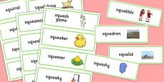 Two Syllable SQU Word Cards