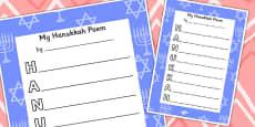 Hanukkah Acrostic Poem Tempalate