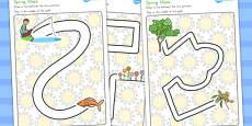 Spring Pencil Control Path Worksheets (Australia)