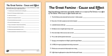 The Great Famine - Cause and Effect Activity Sheet
