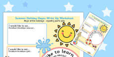 Summer Holiday Hopes Write Up Activity Sheet Polish Translation
