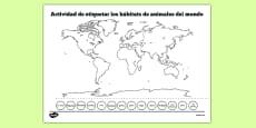 World Map Animal Habitat Labelling Activity Spanish
