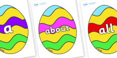100 High Frequency Words on Easter Eggs (Striped)