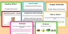 Guided Reading Skills Task Cards Romanian Translation