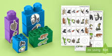 Jungle and Rainforest Animals Matching Connecting Bricks Game