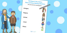 The Emperor's New Clothes Word and Picture Matching Worksheet