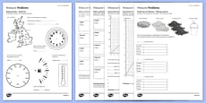 Student Led Practice Measure Problems Activity Sheet