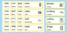 Kitchen Words Cards Polish Translation