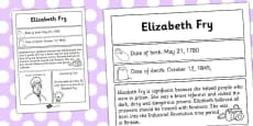 Elizabeth Fry Significant Individual Fact Sheet