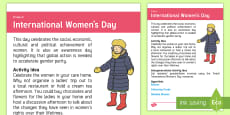 * NEW * International Women's Day Adult Guidance