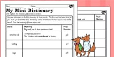 Mini Dictionary Worksheet to Support Teaching on Fantastic Mr Fox