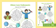 Home Learning Challenge Sheet to Support Teaching on Aliens Love Underpants Nursery FS1