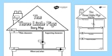 The Three Little Pigs Story Map Writing Frame