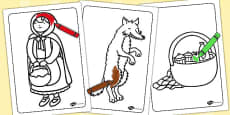 Little Red Riding Hood Colouring Sheets