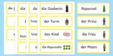 Rapunzel Word Cards German / Deutsch
