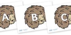 A-Z Alphabet on Hedgehogs