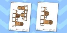3D Bear Chair Paper Model Activity