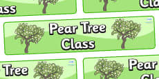Pear Tree Themed Classroom Display Banner