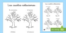 Las estaciones del año: Ficha de leer y dibujar