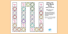 Telling the Time Board Game KS1 O\'clock, Half Past, Quarter To and Past Arabic Translation