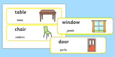 Classroom Furniture labels Portuguese Translation
