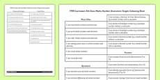 1999 Curriculum 5th Class Maths Number Assessment Targets Colouring Sheet