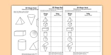 3D Shape Hunt Activity Sheet English/Polish