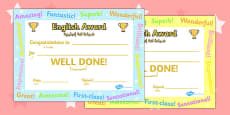 English Award Certificate Arabic Translation