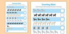 Dog Themed Counting Sheet