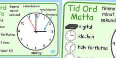 Swedish Time Word Mat