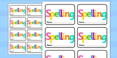 Spelling Book Labels