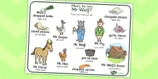 What Time Is It Mr Wolf Word Mat Arabic Translation