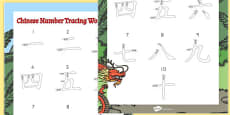 Australia - Chinese Numbers Tracing Activity Sheet